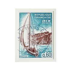French Stamp Wall Art - Red Sailboat - NEW