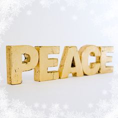 PEACE Primitive Gold Leaf Wood Letters by EdiesLab on Etsy, $35.00