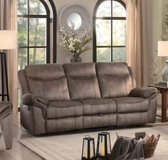 Homelegance Aram Double Reclining Sofa with Drop-Down Table and Center Storage Drawer - Brown Fabric Homelegance, Fabric Sofa, Reclining Sofa, Leather Pillow, Furniture, Sofa, Sofa Upholstery, Drop Down Table, Recliner