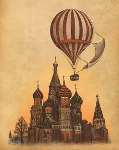 Moving to Moscow - Terry Fan Illustration. Air Ballon, Hot Air Balloon, Terry Fan, Favim, Just In Case, Cool Art, Balloons, Illustration Art, Art Prints