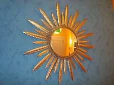 475. Belgian sunburst mirror convex - gild metal - vintage 60-70 - miroir soleil