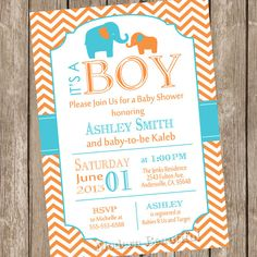 Elephant baby shower invitation orange aqua by ModernBeautiful, $13.00