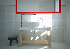 Ikea style bathroom, virtual image, rendered with DomuS3D® 2017 and V-Ray