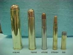 4 gauge, .700 Nitro Express, .470 Nitro Express, .375 Holland & Holland Magnum and a .500 Smith & Wesson Magnum.