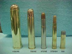 4 gauge, .700 Nitro Express, .470 Nitro Express, .375 Holland & Holland Magnum and a .500 Smith & Wesson Magnum.