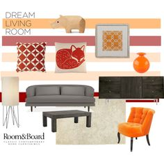 """""""Room & Board Dream Living Room Contest Entry"""" by anna-roura-corbella on Polyvore"""