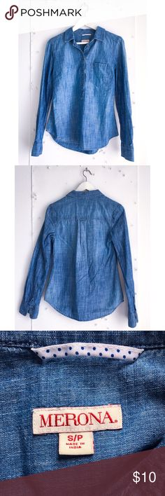 Merona buttoned blouse Merona 100% cotton blouse. It's precious. Worn once. Merona Tops Button Down Shirts