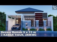 Desain Rumah 9 x 13 m 3 kamar Tidur - YouTube Best Small House Designs, Simple House Design, House Front Design, Home Room Design, Home Design Plans, Modern Minimalist House, My House Plans, Facade House, House Rooms