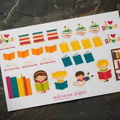 Kids Book Collection 29 ct for Erin Condren Life Planner, Plum Paper Planner, Filofax, Kikki K, Calendar or Scrapbook by adrianapiper on Etsy