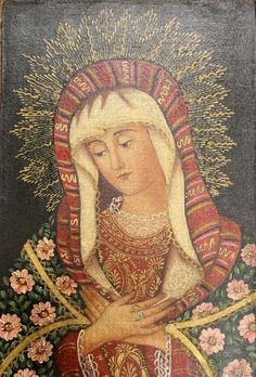 OUR LADY OF SORROWS Virgin Mary Cuzco Oil Painting Peru Peruvian Folk Art