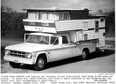 """August 25, 1968. The """"high styled"""" 1969 Dodge D-200 pickup with the """"slide on Del Ray camper unit"""". YES PLEASE!"""