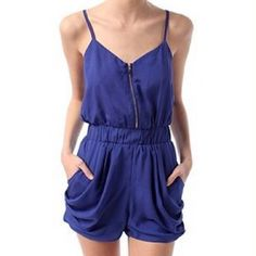 Lucca Couture Royal Blue Romper Chiffon royal blue romper with adjustable straps. Bought from Urban Outfitters. Lucca Couture Pants Jumpsuits & Rompers