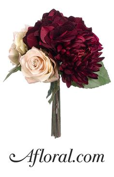 Silk Flower Wedding Bouquets. Get hassle free wedding bouquets for your big day. This artificial bridal bouquet is made of silk hydrangeas, silk roses, and a silk spider dahlia in marsala, burgundy, and mauve. Create a colorful, dramatic contrast perfect for a bohemian fall wedding!