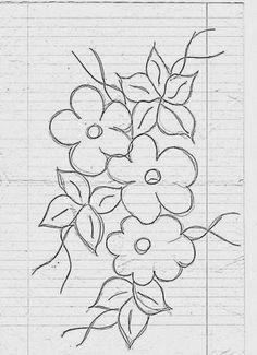 risco flores simples Dark Art Drawings, Pencil Art Drawings, Easy Drawings, Drawing Sketches, Palm Tree Drawing, Border Embroidery Designs, Art Folder, Floral Illustrations, Disney Drawings