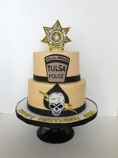 Special Ops Police cake Buttercream iced cake with fondant accents Police Cakes, Office Birthday, Fondant Cakes, How To Make Cake, Amazing Cakes, Sweet Treats, Special Ops, Cookies, Birthday Cakes