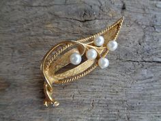 Soviet Vintage Brooch; Golden Color Metal & White Bead Brooch; Floral Motif Brooch; Gold Toned Brooch with Faux Pearls; Vintage Jewelry