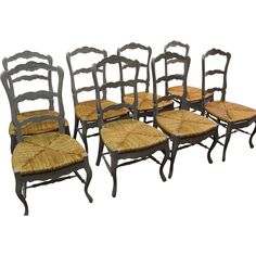 Offered is a great find: a set of 8 French country style carved 3-rung rush seat ladder back grey dining chairs. The chairs are in new condition- very sturdy. The chairs show the french look that will be the envy of your block. The set has ladder backs and four rungs. Anyone who knows quality is su