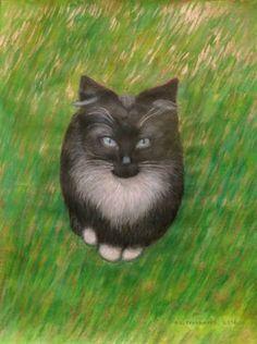 "Saatchi Art Artist Agnieszka Praxmayer; Painting, ""Petit chat"" #art"