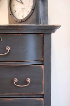 Antique bowfront chest, meet Graphite.      I think you two were a match made in heaven. :)            This classic antique oak chest...