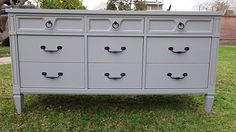 SHABBY CHIC/FRENCH PROVINCIAL VINTAGE DRESSER 9 DRAWERS LIGHT GREY !! AVAILABLE !!