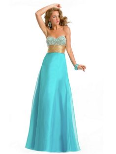 Qualified Sweetheart Neckline A-line Full Length Turquoise Tulle Prom Dresses With Beaded Bust at buytopdress.com