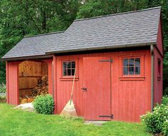 Colonial style shed with log storage area