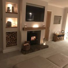 42 Trendy Home Decored Country Living Room Log Burner Cottage Living Rooms, Living Room Decor Cozy, Living Room Storage, New Living Room, Home And Living, Woodland Living Room, Alcove Ideas Living Room, Log Burner Living Room, Log Burner Fireplace