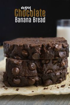 This Vegan Chocolate Banana Bread is an easy recipe that's sure to cure those chocolate cravings. And it doesn't slack on the banana flavor either. It's packed with 5 ripe bananas turning it into a moist and tender, dessert-like quick bread. Enjoy a slice of this chocolatey bread with glass of non-dairy milk for a decadent breakfast this weekend. #eggfree #dairyfree #veganbananabread #chocolatebread #veganchocolatebread #vegan #veganbreakfast #easyrecipe #bananarecipe #veganrecipe via @WYGYP