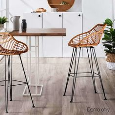 Intensify organic good looks in your space with the Juhana Rattan Bar Stool, Brown (Set of from Resort Living. Bar Table, Stool Chair, Boho Bar, Furniture, Rattan Stool, Rattan Bar Stools, Rattan, Stool, Outdoor Stools