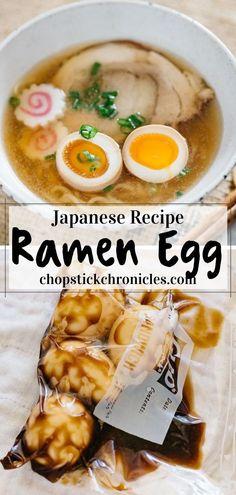 Asian Noodle Recipes, Healthy Asian Recipes, Asian Chicken Recipes, Ramen Recipes, Asian Foods, Egg Recipes, Sweet Recipes, Cooking Recipes, Japanese Ramen Egg Recipe