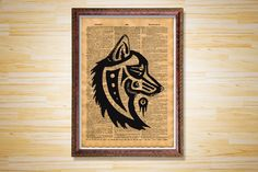 Tribal Wolf print Animal poster Vintage by CrowDictionaryPrints