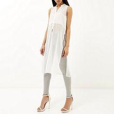 White sheer longline sleeveless shirt