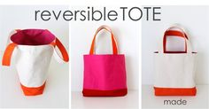 Reversible, lined tote bag - tutorial by http://www.danamadeit.com/