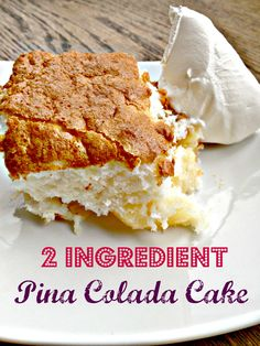 2 Ingredient Pina Colada Cake, otherwise know as Hawaiian Pineapple.I will add a sprinkle of toasted coconut on the whipped cream prior to serving. Piña Colada Cake, Pina Colada, Easy Desserts, Delicious Desserts, Yummy Food, Hawaiian Desserts, Diabetic Desserts, Cupcakes, Cupcake Cakes