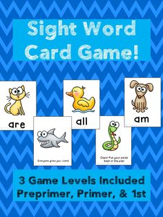 Sight Words Card Game!  3 games included; preprimer, primer, and 1st grade dolch words. A fun way to practice!