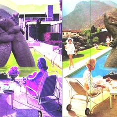 Pool side entertainment Glitched Digital Collage