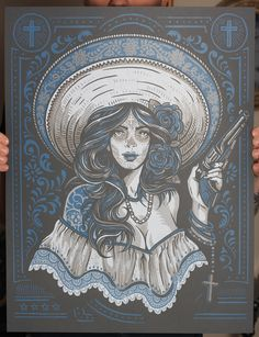 """""""Las Banditas"""" Art Print by Derrick Castle - OMG Posters! Art Chicano, Chicano Art Tattoos, Chicano Drawings, Arte Lowrider, Omg Posters, Mexican Art Tattoos, Art Et Illustration, Le Far West, Mexican Folk Art"""