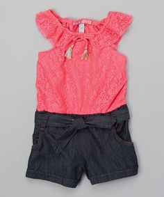 Neon Hot Pink Floral Lace Romper - Infant, Toddler & Girls