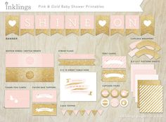 Printable Decorations // Baby Shower or First Birthday // Blush Pink and Gold Collection