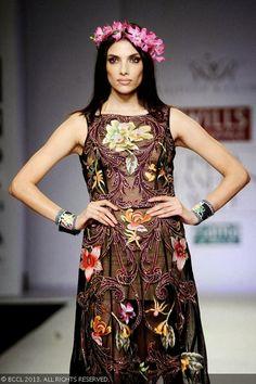 Indrani Dasgupta walks the ramp for fashion designer Rajdeep Ranawat on Day 3 of the Wills Lifestyle India Fashion Week (WIFW) Spring/Summer...