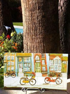 Bike Art City Neighborhood Wanderlust by BicycletteforEtsy Wanderlust Festival, Poster City, Basket Liners, Bike Art, North America, Original Artwork, The Neighbourhood, Adventure, The Originals