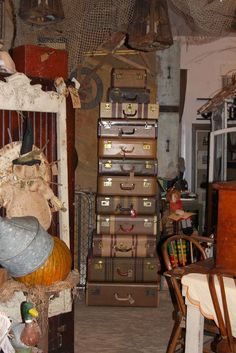 Vintage Suitcases display at Ms. Mac's Antiques, Carver, MN location.