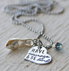 Have Courage and Be Kind Cinderella Inspired Necklace for Daughter or Little Girl - Back to School Gift for Daughter - Hand Stamped Jewelry by PrettyByPriscilla on Etsy