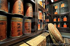 Photo about Chinese tea shop , the label with chinese word, it is the name of tea. Image of wood, chinese, interior - 18540518
