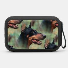 Doberman Pinscher in the Woods Bluetooth Speaker blue doberman pinscher, doberman blue, mini doberman #dobermanlover #dobermanpinschersofinstagram #dobermanpincher, back to school, aesthetic wallpaper, y2k fashion