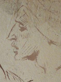CHASSERIAU Théodore,1846 - Arabes - drawing - Détail 26 - Visage mélancolique, de profil - Melancholic face, in profil -