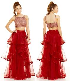 2016 Two Pieces Prom Dresses Crystals Beaded Bodice Long Ruffled Organza Skirts Ball Gown Prom Gowns Graduation Dresses Homecoming Dresses Prom Dresses Short Turquoise Prom Dresses From Gonewithwind, $201.01| Dhgate.Com