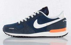 #Nike Air Vortex Leather-Midnight Navy-Sail-Dark Obsidian-Total Orange  #sneakers #kicks