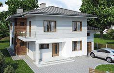 Projekt domu piętrowego Panay o pow. 210,49 m2 z garażem 1-st., z dachem kopertowym, z tarasem, sprawdź!