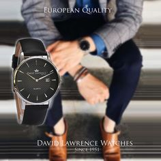 """The David Lawrence """"Carrington"""" 52501 Design. Cowhide Leather, Black Leather, Best Resistance Bands, Leather Watch Bands, Luxury Watches, Omega Watch, Quartz, Menswear, David"""